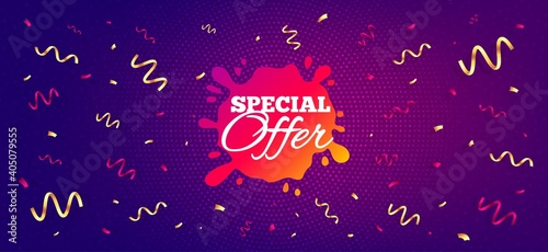 Special offer sticker. Festive confetti background with offer message. Discount banner shape. Sale coupon splash icon. Best advertising confetti banner. Special offer badge shape. Vector