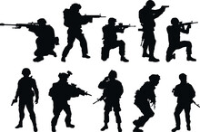 Silhouettes Of US Soldiers. Silhouettes To Represent Soldiers.