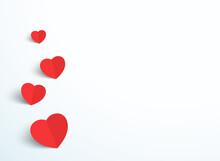 Valentines Day Love Heart Minimal White Background
