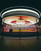 Turned On Horse Carousel Ride During Night