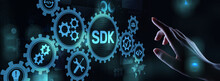 SDK Software Development Kit Programming Language Technology Concept On Virtual Screen.