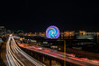 canvas print picture - The Last Night Of Traffic Ever On The Alaska Way Viaduct At Dusk  Long Exposure With Ferris Wheel.