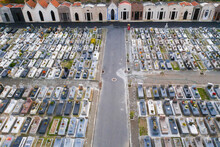Aerial View Of Graves In A Cemetery