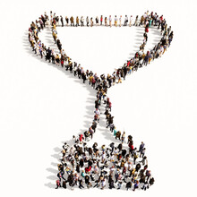 Concept Or Conceptual Large Gathering Of People Forming The Image Of A Cup On White Background. A 3d Illustration Metaphor For Victory, Winning, Success, Achievement, Triumph, Champion, Gold And Prize