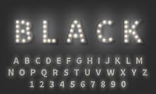 3d Light Bulb Alphabet. Dark Style 3d Retro Typography Typeface
