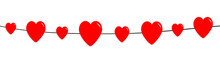 Happy Valentines Day. Red Heart Line Set. Love Greeting Card. Banner Template. Flat Design. White Background. Isolated.