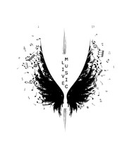 Wings From Ink Splashes With Music Notes. Vector Decoration Element.