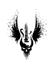 Rock Guitar With Skull And Wings With Music Notes From Ink Splashes . Vector Decoration Element.