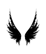 Wings From Ink Splashes. Vector Decoration Element.
