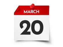 March 20 Day Calendar