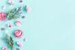 Leinwandbild Motiv Flowers composition. Pink flowers on pastel blue background. Flat lay, top view