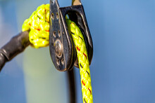 Close-up Of Rope In Pulley