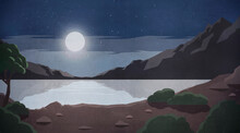 Bright Full Moon Over Tranquil Remote Mountain Lake