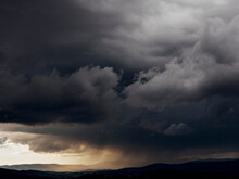 Dark Gray Storm Clouds Over Landscape, Montauroux, French Riviera, France