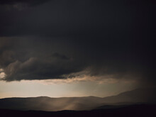 Dark Gray Storm Clouds Over Silhouetted Hills, Auribeau-sur-Siagne, France