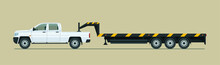 Towing Pickup Truck With Trailer Isolated. Vector Flat Style Illustration.