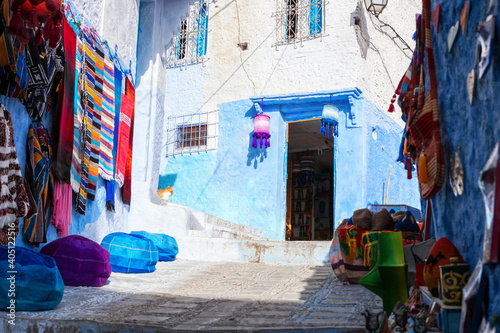 Fotografering Shopping street in the medina, Chefchaouen, Morocco