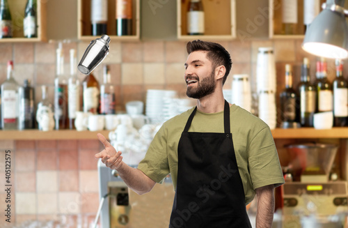 Tablou Canvas alcohol drinks, people and job concept - happy smiling barman with shaker prepar