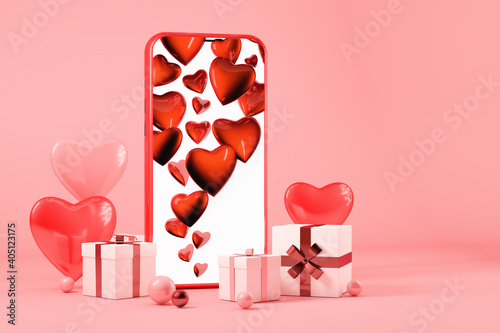 Foto Valentines day concept, Mobile phone with gift boxes and hearts, pink background