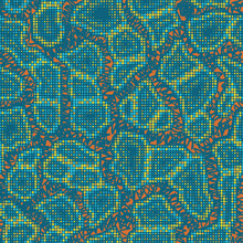 Abstract Halftone Camouflage. The Skin Of A Chameleon Or Snake. Dot Pattern In Acid Turquoise And Orange Tones Camo Background. Seamless Vector Texture