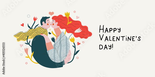 Obraz Couple in love - Valentines day graphics. Modern flat vector concept illustration - a young hetoresexual couple kissing and embracing. Hearts and flowers. Cute characters in love concept - fototapety do salonu