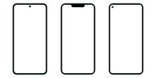 Set Of Black Smartphone Front Isolated On White Background. Flat Vector Illustration, Design Template. The Camera On The Top, Center, Left Side