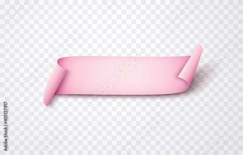 Canvas Print Pink ribbon, scroll or paper curved banner isolated on transparent background