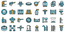 Equipment For Pool Icons Set. Outline Set Of Equipment For Pool Vector Icons Thin Line Color Flat On White