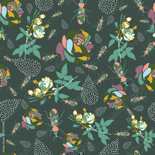 Vector florals and leaves seamless pattern. Suitable for fashion fabric, scrapbooking, wallpaper, packaging and other design projects. Wall mural