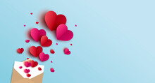 Valentines Day Banner Design Of Envelope And Hearts Vector Illustration