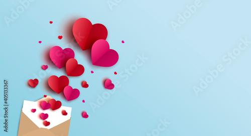Valentines day banner design of envelope and hearts vector illustration