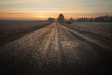 Wide The Road Beyond The Horizon At Dawn