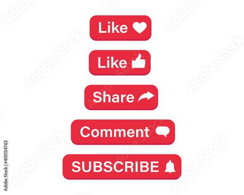 Social media buttons Fototapet