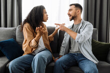 Married Young Couple Emotional Discuss About Something, They Having Problem. African American Woman And Caucasian Man Disagree With Each Other Have A Misunderstanding, Cant Make Decision, A Quarrel