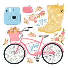 Set Of Items Spring Objects Texture, Doodles, Cute Drawings. Pastel Colors Collection: Camera, Rubber Boots, Bicycle, Flowers