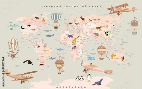 Fototapeta wallpaper for children world map with animals and balloons obraz