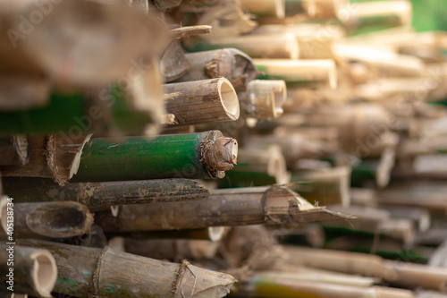Tela Close-up Of Old Stacked Bamboos