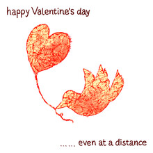 Valentine's Day Message For Long Distance Relationships, Or For Every People Living In Times Of Coronavirus. Symbolic Illustration Of Little Bird Carrying Heart Shaped Bailoon.