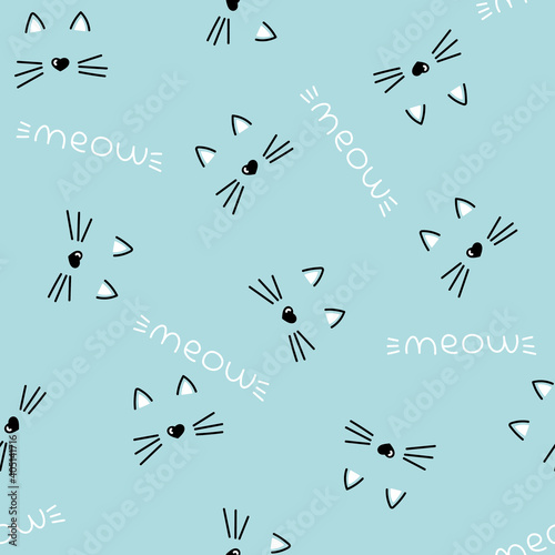 seamless vector pattern with cute cat faces, heart nose. children's, girls', blue background. meow cats pattern with hearts