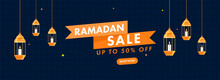 UP TO 50% Off For Ramadan Sale Header Or Banner Design With Lit Candle Inside Lanterns Hang.