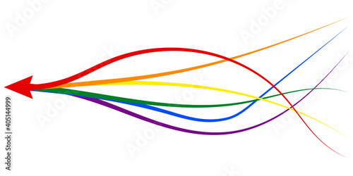 Fototapeta arrow formed by multiple merging lgbt pride colourful lines white background. Partnership, merger, alliance and integration concept obraz
