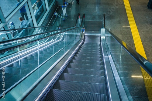 Stairs airport Escalators with blurred motion