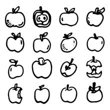 Apple Icons Set, Hand Drawn Style