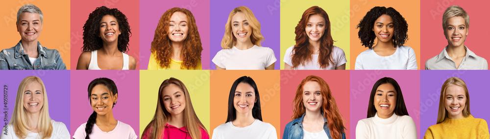 Fototapeta Beautiful diverse women smiling on colorful backgrounds, set