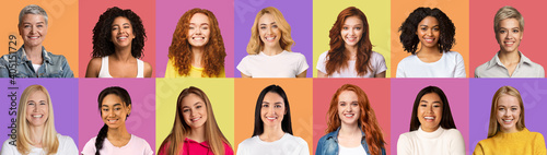 Fototapeta Beautiful diverse women smiling on colorful backgrounds, set obraz