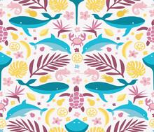 Hawaii Seamless Background, Tropical Animal Pattern