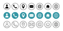 Web Icon Set. Business Card Contact Information Icon. Contact Us Icon Set