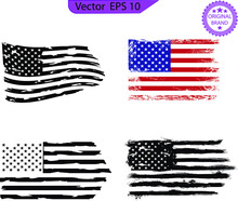 USA Flag. Distressed American Flag With Splash Elements, Patriot, Military Flag Distressed American Flags Set, Eps10, Transparent Background, High Resolution, Only Commercial Use