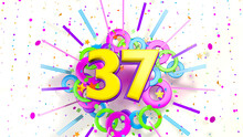 Number 37 For Promotion, Birthday Or Anniversary Over An Explosion Of Colored Confetti, Stars, Lines And Circles On A White Background. 3d Illustration