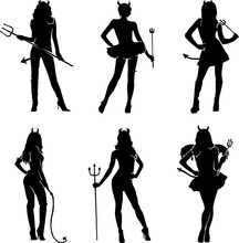 Collection Of Female Costume Player Wearing Devil Costume For Halloween Silhouette